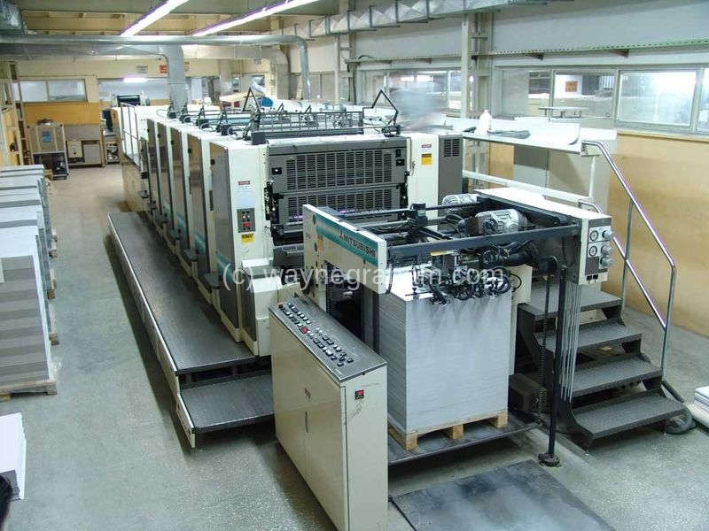 Image of Used Mitsubishi 3H-5+L Five Colour Printing Press With Coating Unit And UV Dryer