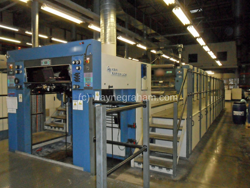 Image of Used KBA Rapida 105-6+L CX Six Colour Printing Press With UV Dryer For Sale