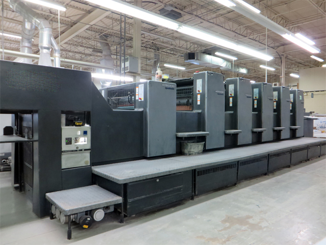Image of Used Heidelberg Speedmaster 74-5-H-L Five Colour Printing Press With Coating Unit For Sale