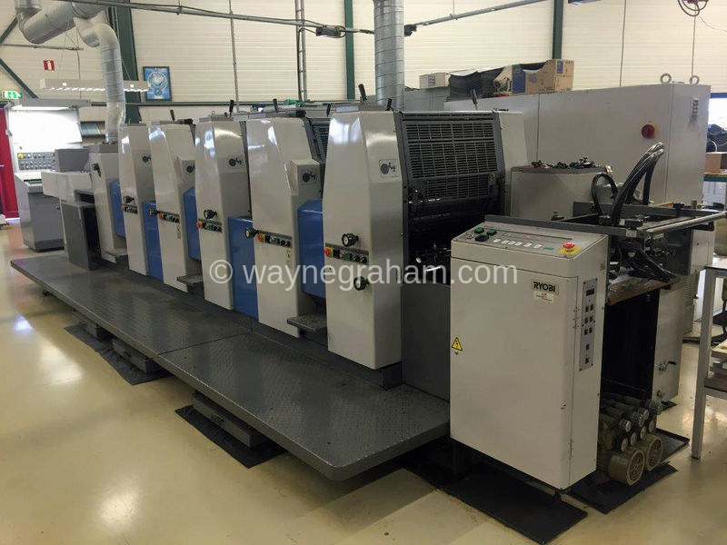 Image of Used Ryobi 525 HX+L Five Colour Printing Press With Coating Unit For Sale