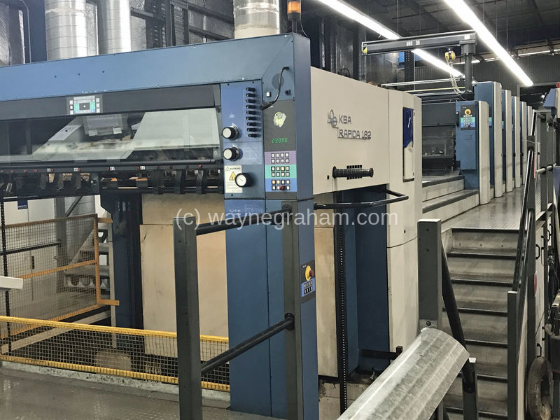 Image of Used KBA Rapida 162A-6+L+CX Six Colour Printing Press With Coating Unit And Interdeck UV Dryers For Sale