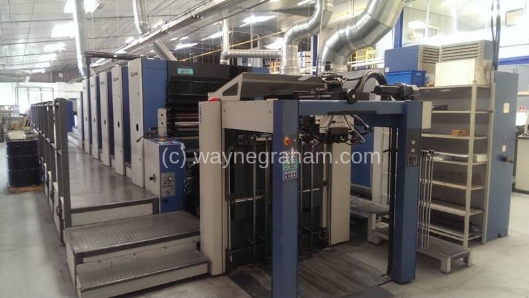 Image of Used KBA Rapida 105-5+L CX Five Colour Printing Press With Coating Unit And Interdeck UV Dryers
