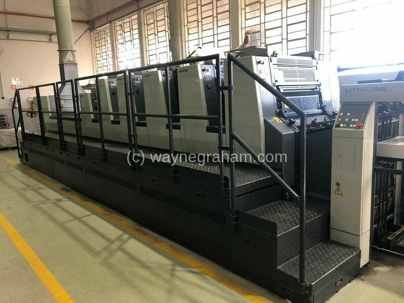 Image of used Komori L-526+C five color printing press for sale